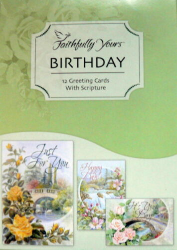 BOX 12 Christian BIRTHDAY Greeting Cards With KJV Bible Scripture & Verse