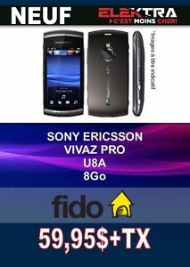 NEUF....TÉLÉPHONE SONY VIVAZ PRO ( 8 GB )  FIDO ....$59.95