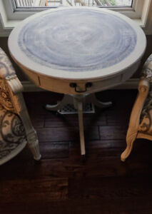Antique Round Drum Side End Accent Leather Top Table