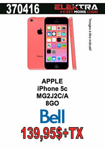 370416..TELEPHONE CELLULAIRE APPLE ( IPHONE 5C ) +(8GO ) .$139.9