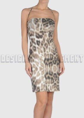 JUST CAVALLI beige L nylon Animal Print LOGO halter COVER-UP dress NWT Authentic Nylon Print Halter Dress
