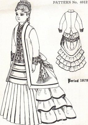 "Period DOLL DRESS  14"" PATTERN Victorian German French"
