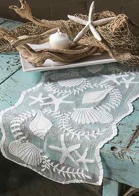 "Heritage Lace White TIDEPOOL 14"" x 40"" Table Runner - Seashells, Beach, Coastal"