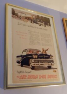 UNIQUE 1958 BUICK COUPE FRAMED AD - ANONCE RETRO ENCADREE