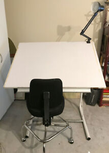Drawing table, lamp and chair