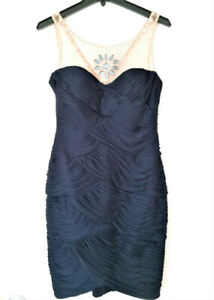 ADRIANNA PAPELL COLLECTION RUCHED LACE BEADED NAVY DRESS, SIZE 6