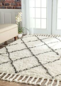 GORGEOUS Morrocan Shag Diamond Pattern Area Rug