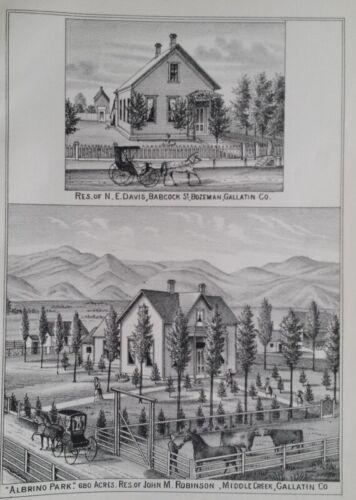 Orig 1885 N.E. Davis & John M Robinson Residences Print Mt Montana Territory