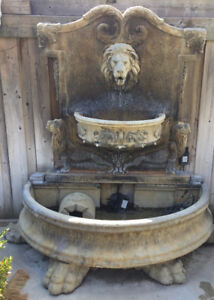 Outdoor water fountain with motor and light