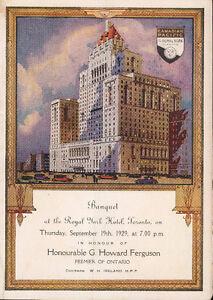 ROYAL YORK CANADIAN PACIFIC HOTEL MENU 1929 BANQUET PREMIER