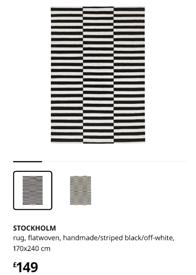 IKEA STOCKHOM Large Black and White Rug