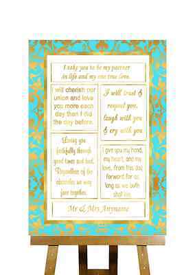 Mint Green And Gold Romantic Vows Personalised Wedding - Mint Green And Gold Wedding