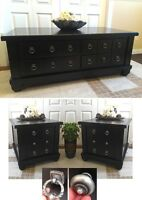Rustic Appeal! 3-Pc Refinished Coffee Table, 2 Night Stand
