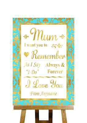 Mint Green And Gold Message For Mum Personalised Wedding Sign - Mint Green And Gold Wedding