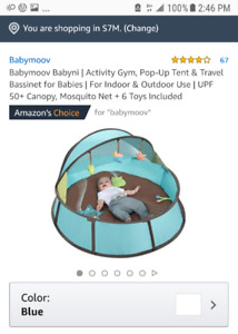 Babymoov Portable Travel Playpen + Deluxe Musical Mobile Gym
