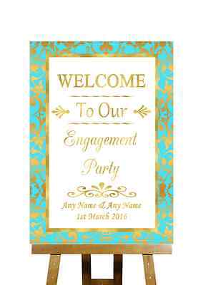 Mint Green And Gold Welcome Engagement Party Personalised Wedding Sign - Mint Green And Gold Wedding