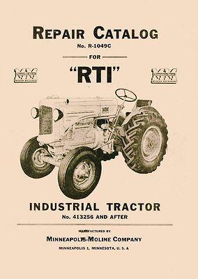 Minneapolis Moline R Rti Parts Manual Catalog 413256-