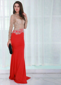 Red and Gold Royal Lace Gown