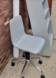 Grey leather desk swivel chair