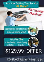 BEST PROMOTION PRICE FOR DUCT CLEANING WITH UNLIMITED VENTS $130