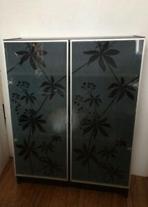 Black Ikea Billy Bookcase / shelving with frosted glass doors