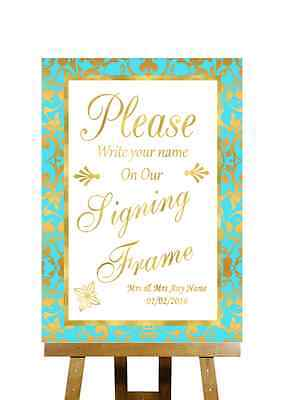 Mint Green And Gold Signing Frame Guestbook Message Personalised Wedding Sign - Mint Green And Gold Wedding