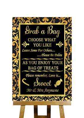 Black And Gold Candy Buffet Cart Sweets Personalised Wedding Sign