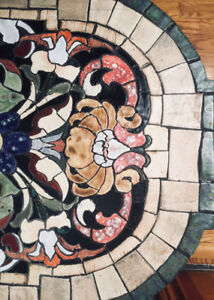 Table art piece - mosaic with antique cast iron base