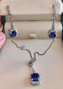Beautiful blue Sapphire earring and necklace set - never worn