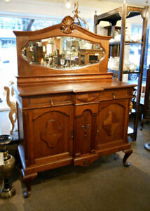 HANDSOME ANTIQUE OAK MIRRORED BACK SIDEBOARD AT CHARMAINE'S