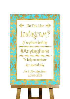 Mint Green And Gold Photos On Instagram Personalised Wedding Sign - Mint Green And Gold Wedding