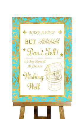 Mint Green And Gold Wishing Well Message Personalised Wedding Sign - Mint Green And Gold Wedding