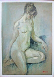 ORIGINAL FRAMED NUDE OIL ON BOARD BY FRANK T BROKENSHAW (BROCK)