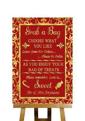 Red And Gold Candy Buffet Cart Sweets Personalised Wedding Sign