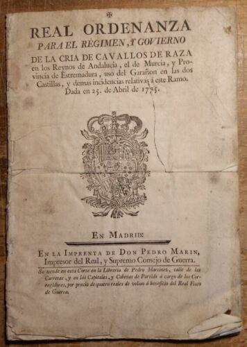 Orig! 1775 Spanish Horse Breeding Real Ordenanza Andalucia Murcia Estremadura