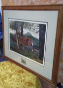 Print of ' On the Edge' by M Visser - with 2 Brass deer Ornament