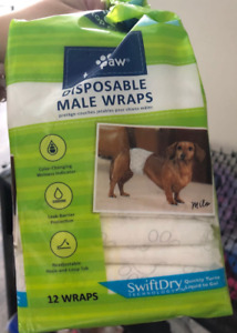 Disposable Male Wraps for dog (11 wraps-Small)