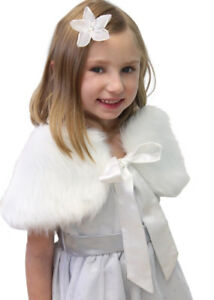 Girl & Toddler Ivory/Off-White Fur Shrug Cape Wrap Stole -New