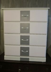 #33 Wood 4 Drawer Dresser - White with Pearl White  & Gray Drawe
