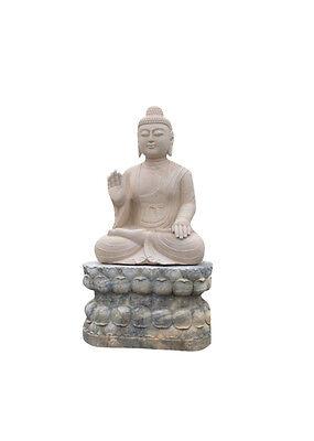 Marmor Stein Garten Buddha Statue 282 cm groß Buddhafigur Unique AsienLifeStyle