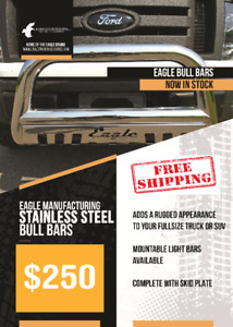 Custom Fit Stainless Steel Bull Bars $250/NEW - FREE SHIPPING!