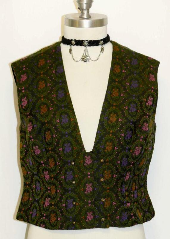 GREEN ~ WOOL German EMBROIDERED Trachten Women Dirndl Dress Skirt VEST/44/8 S