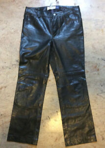 Leather boot cut jeans