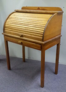Mid Century Vintage Pine Small Roll top Desk Made in Montreal