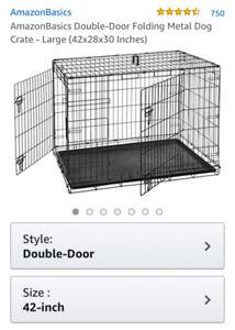 Large double door dog crate - never used