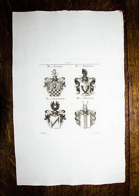1816 Wappen Kupferstich Tyroff Adelige von Langen Liebenau Liebenroth Obernitz