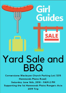 Yard Sale and BBQ - Fundraiser for Girl Guide Trip