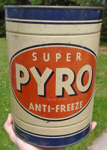 VINTAGE 1940-50's SUPER PYRO ANTI-FREEZE IMPERIAL GALLON CAN