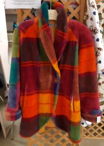 Rare vintage 80's Donny Brook rainbow plaid faux fur unisex coat