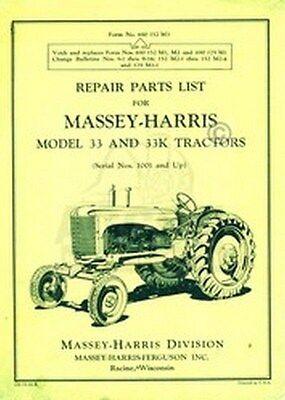 Massey Harris 33 K 33k Tractor Repair Part List Manual